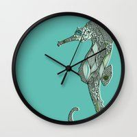 seahorse Wall Clocks featuring Seahorse by Rachel Russell
