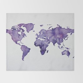 Purple World Map 01 Throw Blanket