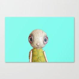 Sheldon The Turtle - Teal Blue Canvas Print