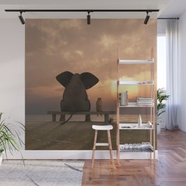 Elephant and Dog Friends Wall Mural
