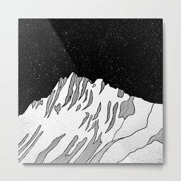Puncak Jaya Mountain Black and White Metal Print