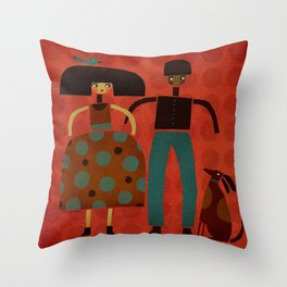 COUPLE & DOG & BIRD Throw Pillow