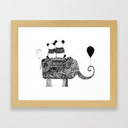 Panda. Love. Elephant travel Framed Art Print