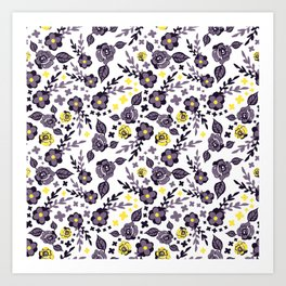 Cute Chintzy Purple and Yellow Floral Print Art Print