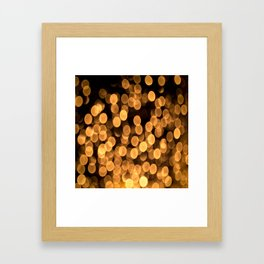 Golden Bokeh Light On A Black Background #decor #society6 Framed Art Print