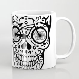 Vintage Mexican Skull with Bicycle - black and white Coffee Mug