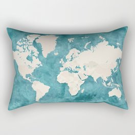 Teal watercolor and light brown world map Rectangular Pillow