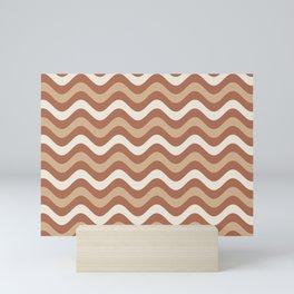 Cavern Clay SW 7701 and Ligonier Tan SW 7717 Wavy Horizontal Stripes on Creamy Off White SW7012 Mini Art Print