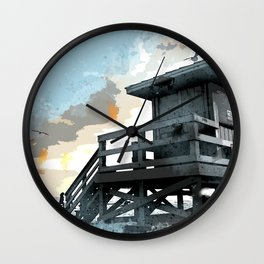 Weathered Life Guard Station at the Shoreline Wall Clock