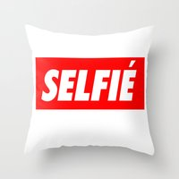 selfie Throw Pillows featuring Selfie by Poppo Inc.