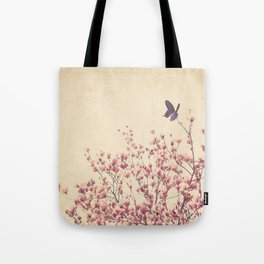 Butterfly and Pink Blossoms Tote Bag