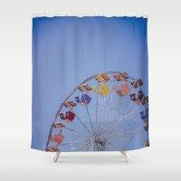 ferris wheel Shower Curtains featuring Ferris Wheel by Amanda Lily