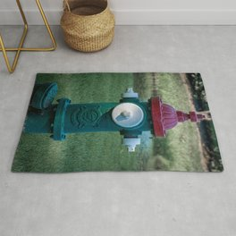 Green Red and White Eddy Valve Division of Clow Fire Hydrant Fire Plug Rug