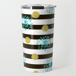 A festive mood. Striped background black and white with blue fireworks and Golden peas . Travel Mug