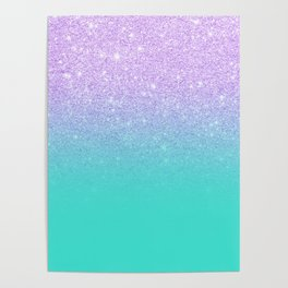 Modern mermaid lavender glitter turquoise ombre pattern Poster