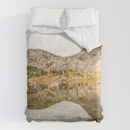 Crystal Clear Lake // Rustic Mountain Gray Sky and Autumn Colors Comforters