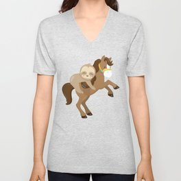 Cute Sloth Horse Unisex V-Neck