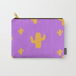 Mustard Cactus White Poka Dots in Purple Background Pattern Carry-All Pouch
