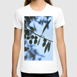 Olive tree branch against clear blue sky T-shirt