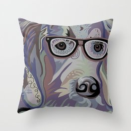 Smart Retriever Denim Tones Throw Pillow