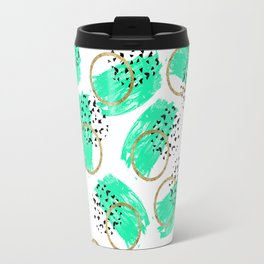 Abstract Black Teal and Faux Gold Brushstrokes Travel Mug