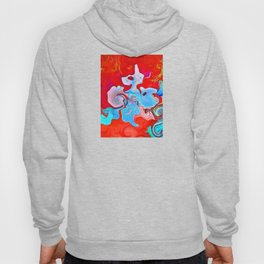 Conceptual abstract mixed swirl shaped blue and pink colors on a deep red background  Hoody