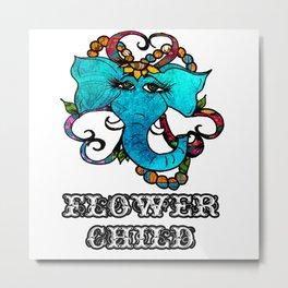Flower Child Floral Elephant Metal Print