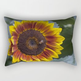 Red Sunflower with Bee Rectangular Pillow