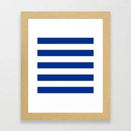 Air Force blue (USAF) -  solid color - white stripes pattern Framed Art Print