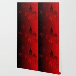 Fleur De Lis Red Holiday Pattern Wallpaper