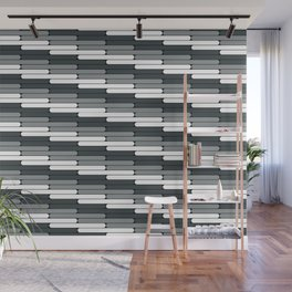 Staggered Oblong Rounded Lines Pattern PPG Night Watch Pewter Green Wall Mural