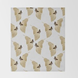 Butterfly & Palm Leaf, Gold Wall Art Throw Blanket