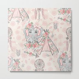 Pretty As A Peach Baby Elephants and Elements Metal Print