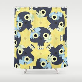 Cute pattern with funny skulls and yellow flowers Shower Curtain
