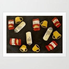 The Essentials: coffee, cigs, & spray Art Print