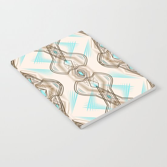 Art Deco . Turquoise brown white . Notebook
