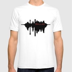 Dallas City Skyline White SMALL Mens Fitted Tee