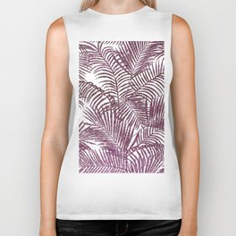 Modern purple pink faux glitter tropical palm tree Biker Tank