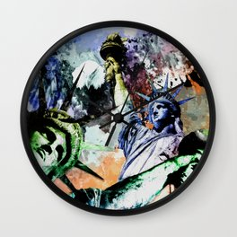 Statue of Liberty Abstract Art Collage Wall Clock