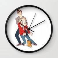 derek hale Wall Clocks featuring goober derek by krakenface