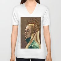 thranduil V-neck T-shirts featuring Thranduil King by INOGArt