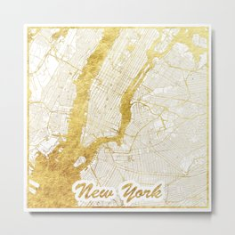 New York Map Gold Metal Print