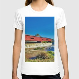 Bridgeton, Indiana Red Covered Bridge and Waterfall T-shirt