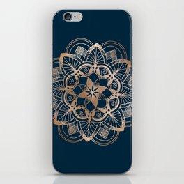 Lotus metal mandala on blue iPhone Skin
