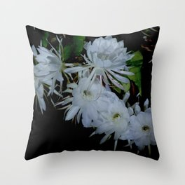 Night Queen blooming Throw Pillow