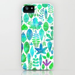 Modern green aqua blue watercolor greenery leaves iPhone Case