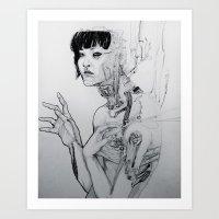 cyberpunk Art Prints featuring Cyberpunk Self by Jenna V Genio