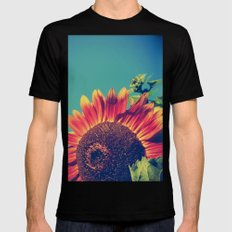 Summer Sunflower SMALL Black Mens Fitted Tee