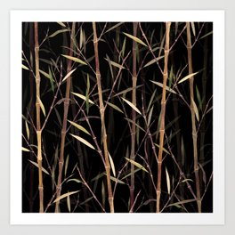 Dry Bamboo Forest at Night Art Print