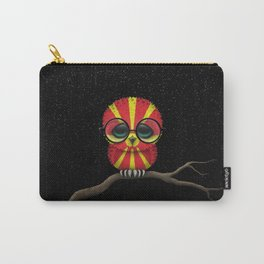 Baby Owl with Glasses and Macedonian Flag Carry-All Pouch